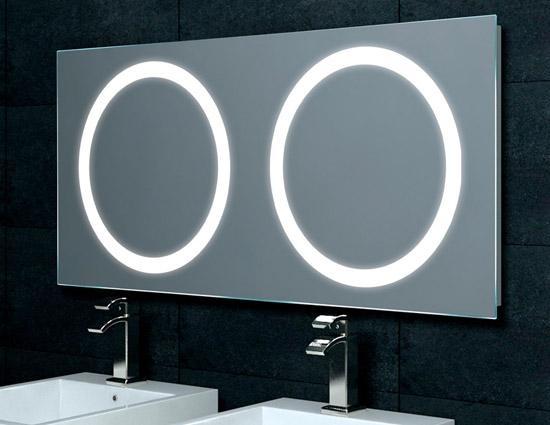 spiegel f r doppelwaschtisch mit beleuchtung 120x55cm mf5120. Black Bedroom Furniture Sets. Home Design Ideas