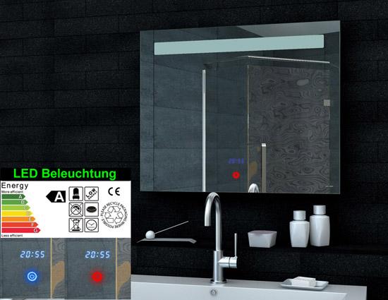 lichtspiegel led beleuchtung uhr und touch schalter 80x65 ml6508. Black Bedroom Furniture Sets. Home Design Ideas