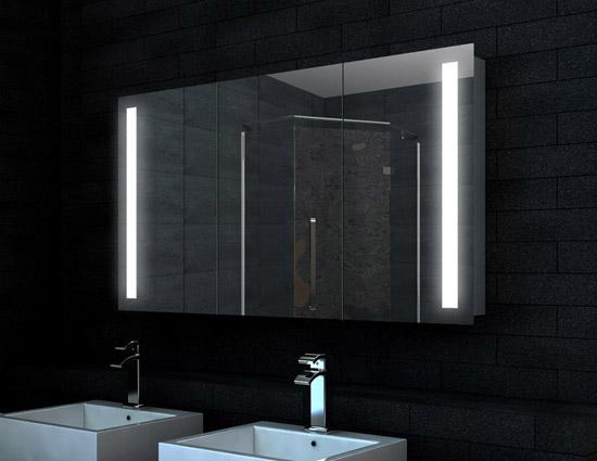 design alu badezimmer spiegel schrank led 120x68cm sk12068. Black Bedroom Furniture Sets. Home Design Ideas