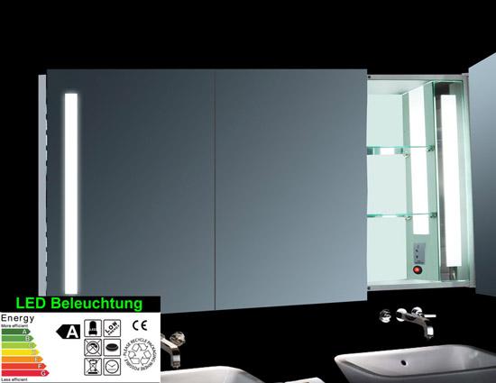 design alu badezimmer spiegel schrank led 140x68cm sk14068. Black Bedroom Furniture Sets. Home Design Ideas