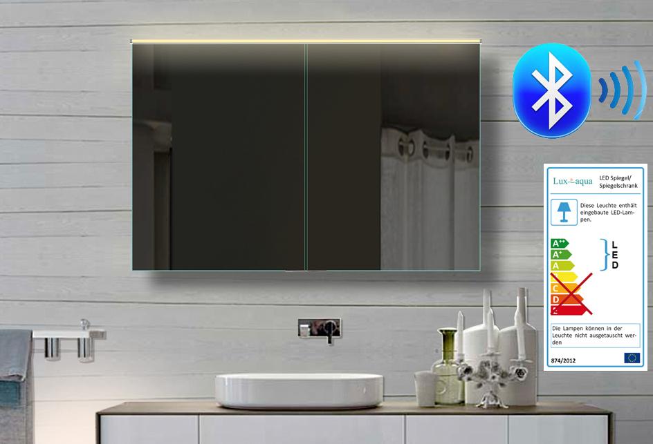 aluminium bad spiegelschrank led bluetooth lautsprecher 102x70cm bhc102h70 ebay. Black Bedroom Furniture Sets. Home Design Ideas