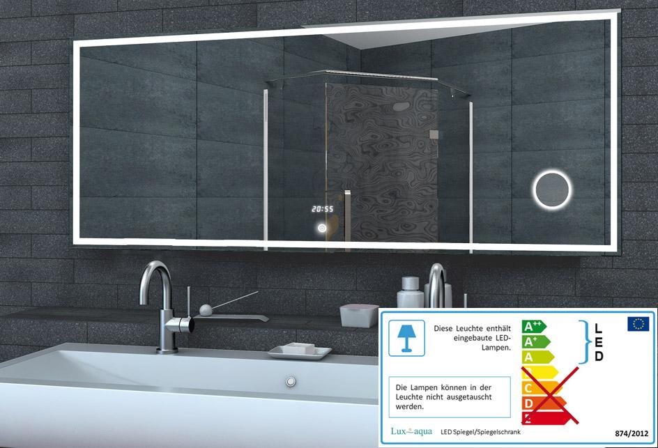Badspiegel Lichtspiegel LED Lichtspiegel Uhr / Schminkspiegel ...