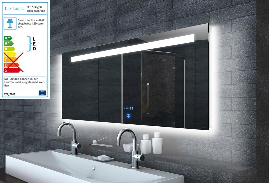 Design wandspiegel badezimmerspiegel spiegel mit led for Wandspiegel rahmenlos