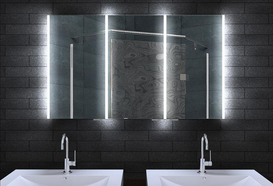 Alu Badschrank badezimmer spiegelschrank bad LED Beleuchtung 120x70cm MLA12700  eBay