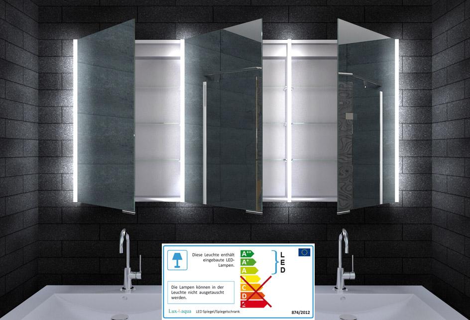 Details zu Alu Wand Badschrank Badezimmer Spiegelschrank LED Beleuchtung  140x70cm MLA14700
