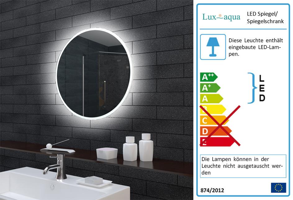 AQUABATOS/® 60cm Runde Badspiegel mit LED Beleuchtung Wandspiegel Beleuchtet Badezimmer Spiegel lichtspiegel Antifog Dimmbar Touch Kaltwei/ß 6400K Beschlagfrei Antibeschlag IP44 CE