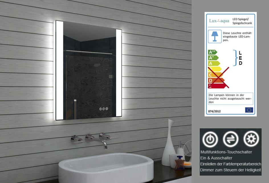 Lux aqua design led wand badezimmer lichtspiegel spiegel - Lux aqua spiegel ...