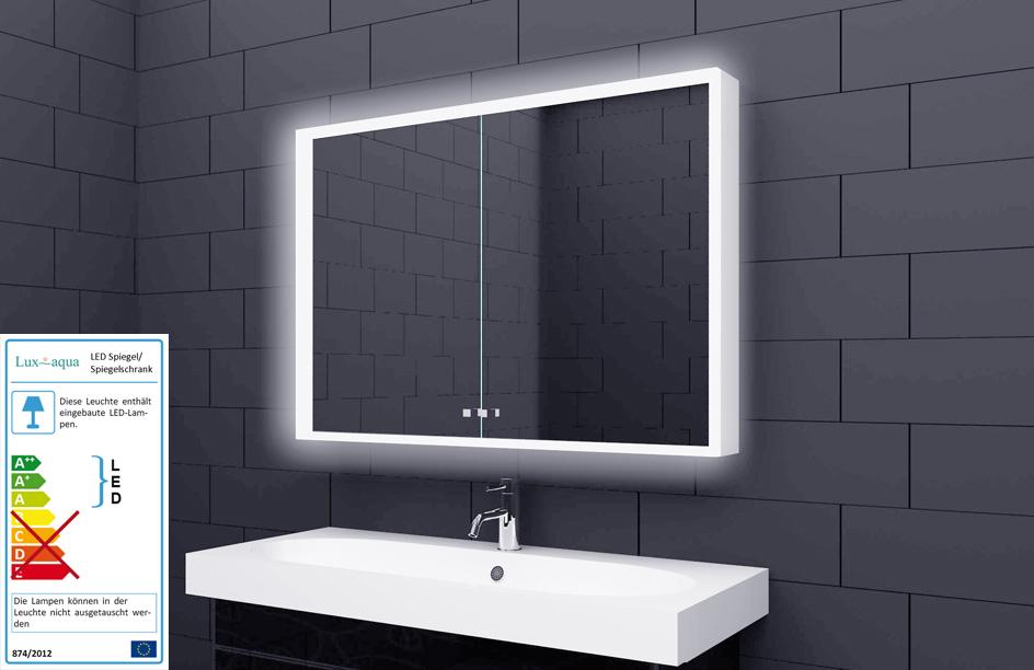 Alu Badschrank badezimmer spiegelschrank bad LED Beleuchtung 100x70cm SAC100H70  eBay