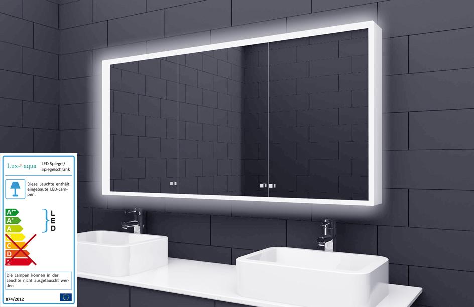 Alu Badschrank badezimmer spiegelschrank bad LED Beleuchtung 140x70cm SAC140H70  eBay