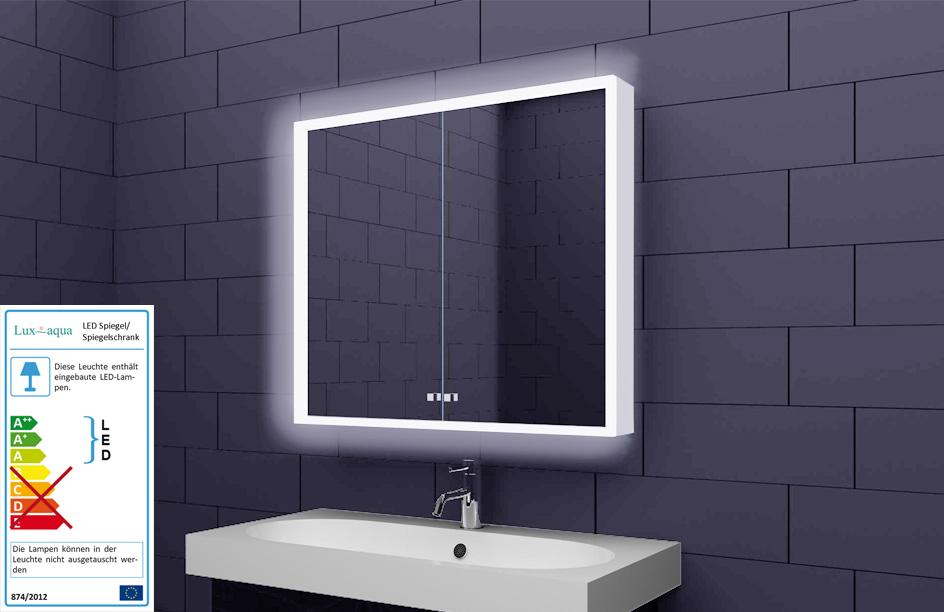Alu Badschrank badezimmer spiegelschrank bad LED Beleuchtung 80x70cm SAC80H70  eBay