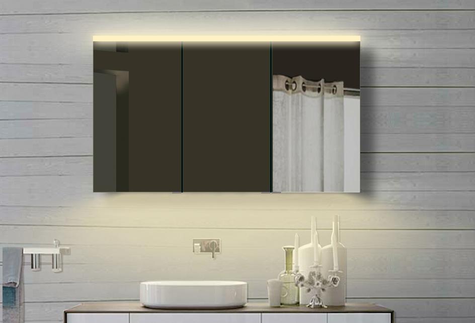 luxaqua aluminium badezimmer spiegelschrank mit led in warm kaltwei ydc120 70dp ebay. Black Bedroom Furniture Sets. Home Design Ideas