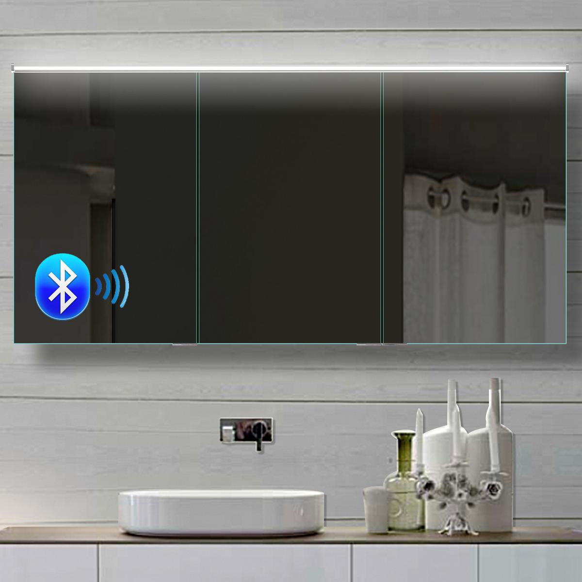 Alu Badezimmer spiegelschrank LED und Bluetooth Lautsprecher 17x17cm  BHC17H17