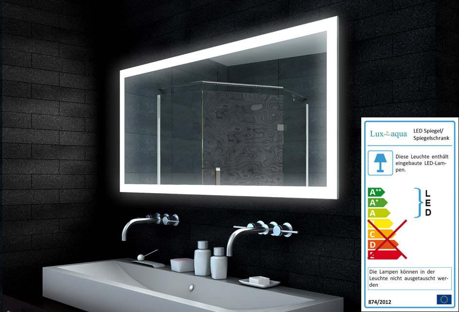 Badezimmerspiegel Lampe.Www Lux Aqua De Design Led Beleuchtung Badezimmerspiegel Mld14065 140x65cm