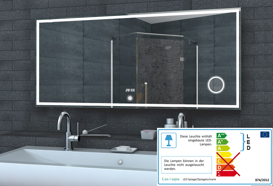 Badezimmerspiegel Led.Www Lux Aqua De Led Beleuchtung Badezimmerspiegel Mit Led Uhr Schminkspiegel Lmc1460a 140x60cm