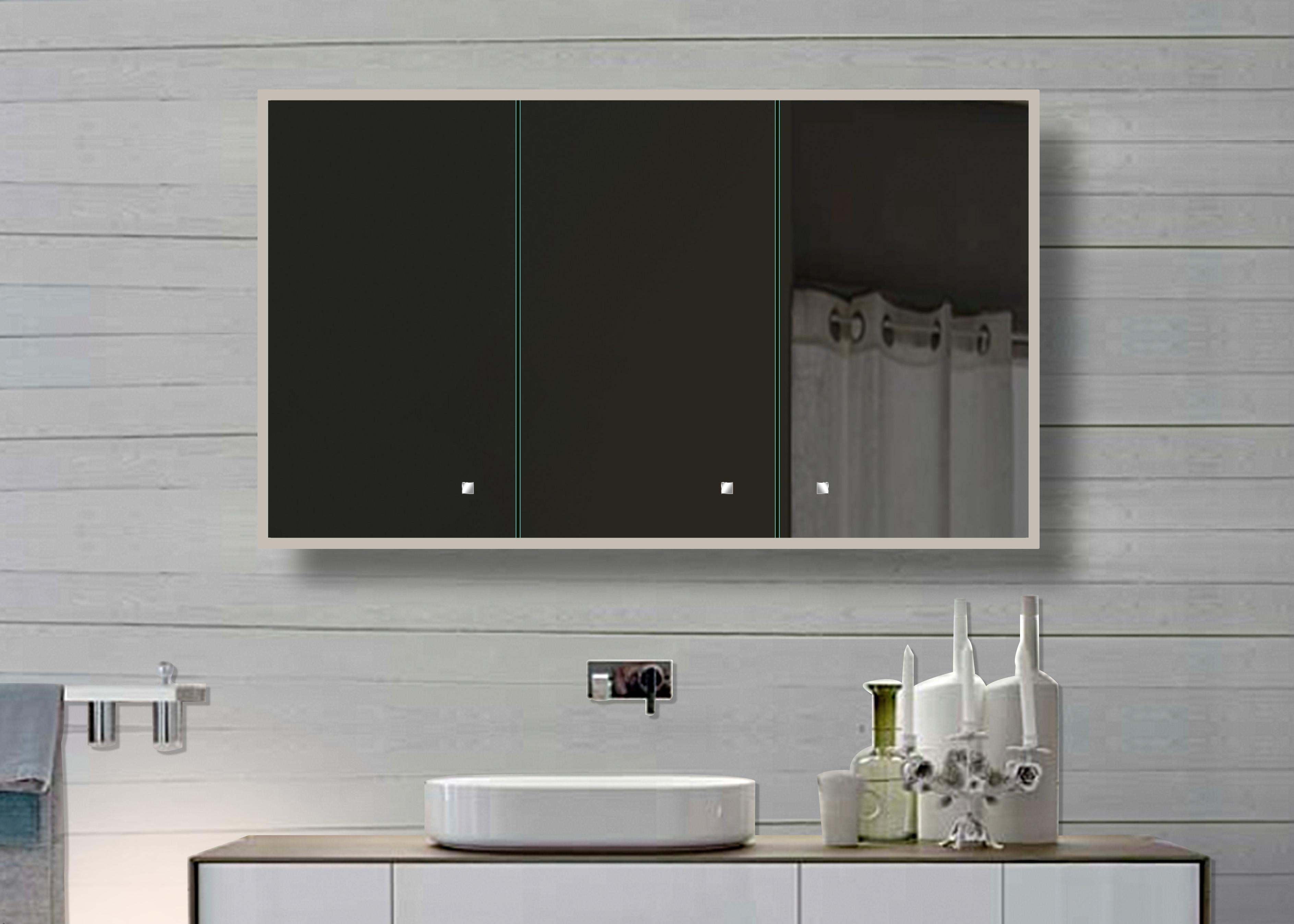Weiß Aluminium LED Beleuchtung Badezimmer Spiegelschrank SAC120H70 120x70cm