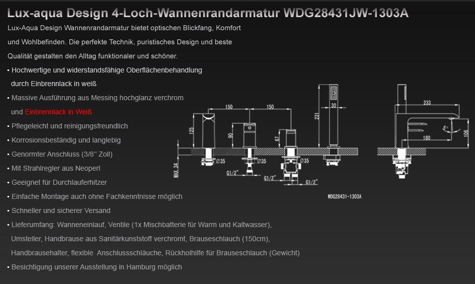 Chrom//Wei/ß Lux-aqua WDG28431JW-1303A 4-Loch-Wannenrandarmatur