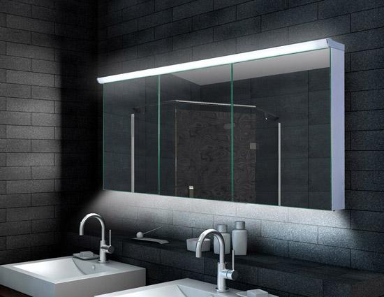 Bevorzugt www.lux-aqua.de - Design Alu Spiegelschrank LED Beleuchtung RO58